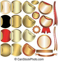 (vector), verzameling, goud, prijzen, zilver, brons