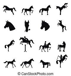 vector, verzameling, paarde, -, silhouette.