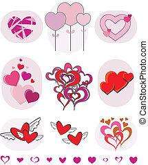 vector, verzameling, valentines