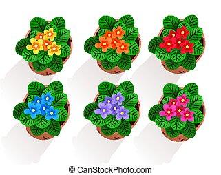 vector, verzameling, van, bloemen, in, pot