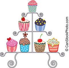 vector, verzameling, van, gevarieerd, cupcakes, op, een, stander