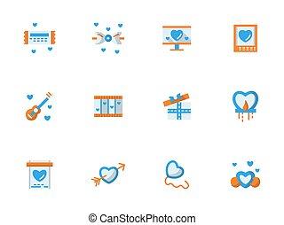 vector, verzameling, van, liefde, groet, plat, iconen