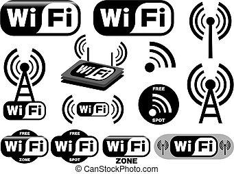 vector, verzameling, van, wi-fi, symbolen