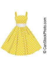 vector, vestido amarillo, con, blanco, lunares