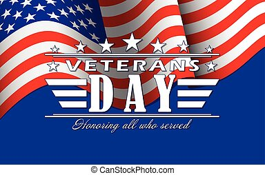 Vector Veterans Day background with stars, USA flag and ...