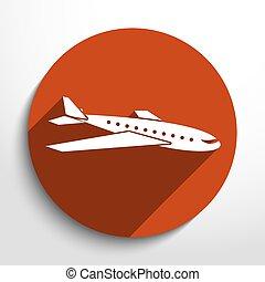 vector, viaje, avión, icono