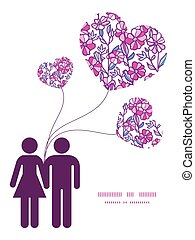 Vector vibrant field flowers couple in love silhouettes frame pattern invitation greeting card template graphic design