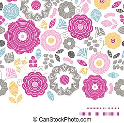 Vector vibrant floral scaterred horizontal frame seamless pattern background