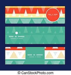 Vector vibrant ikat stripes horizontal banners set pattern background