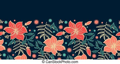 Vector vibrant tropical hibiscus flowers horizontal border seamless pattern background