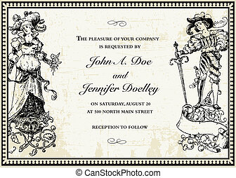 Vector Victorian Bride and Groom Template