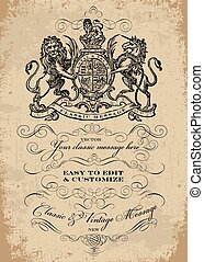 Easy to edit! Clipart victorian crest and lion poster. Distressed background is eay to remove or enhance. Great for posters, invitations and announcements. Vector file is an EPS 10 file. Vector editing features are only available with the EPS file. Watermarks are removed from the image you get after...