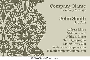 Vector Victorian Damask Business Card