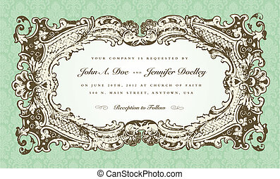 Vector Victorian Wedding Frame for Invitation