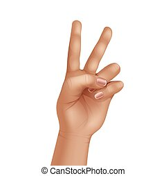 Vector Victory Peace Sign Gesture Hand Isolated on White Background