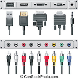 Vector video and audio connectors - Set of the video and...