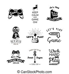 Vector video games labels set. Arcade game room. Let's play...