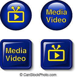 Vector video media icons for tv screen - buttons - EPS 10