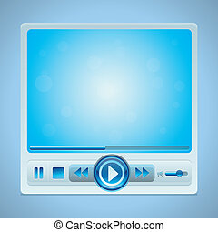 Vector video player interface with glossy buttons