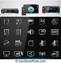 Set of the icons representing modern video players features and specifications
