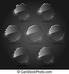 vector, vidrio, diseño determinado, elementos