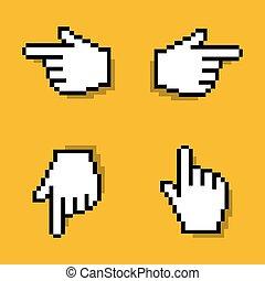 vector, viejo, diseñar, pixelated, ratón, mano, cursor, en, vario, direction.