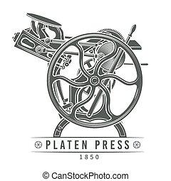 vector, viejo, illustration., texto impreso, vendimia, platen, máquina, imprenta, logotipo, design.