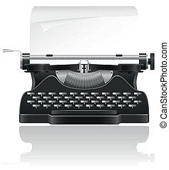 vector, viejo, ilustración, máquina de escribir