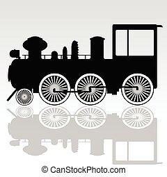 vector, viejo, locomotora, ilustración