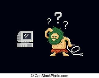 vector, viejo, primitivo, pixel, antiguo, 8-bit, vendimia, ...