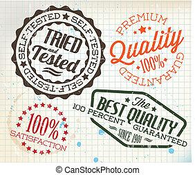 vector, viejo, vendimia, ajustado, sellos, papel, retro
