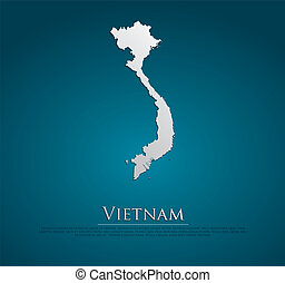 vector Vietnam Map card paper on blue background, high ...