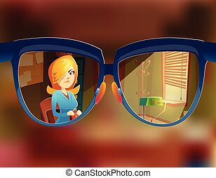 Vector view from the glasses at woman customer