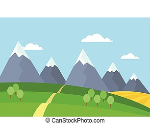 Vector view of mountain landscape with trees and field under blue sky with clouds