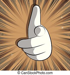 vector, viewer., spotprent, wijzende hand