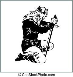 Vector Viking warrior with sword Cartoon Illustration. Barbarian bowed his knee.