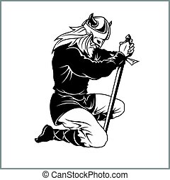 Vector Viking warrior with sword Cartoon Illustration. Barbarian bowed his knee.