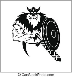 Vector Viking warrior with sword Cartoon Illustration.