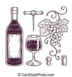 vector, vino, Colección, iconos