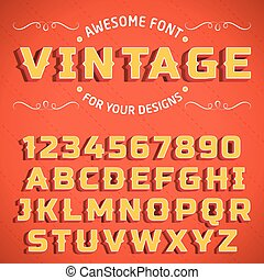 Vector Vintage 3D Font with shadow