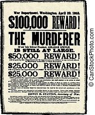 Vector Vintage Abraham Lincoln Reward Poster - Reward poster...