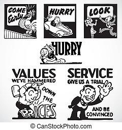 Vector Vintage Advertising Signs - Vintage vector...