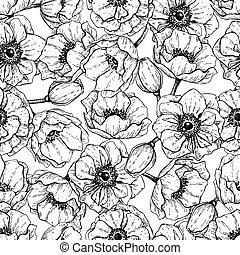 Vector vintage anemone seamless pattern. Hand drawn illustration. Great for wedding invitations, birthday, valentine's, save the date and greeting cards. Engraved decor element