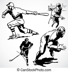 Vector Vintage Athletes - Vintage vector advertising...