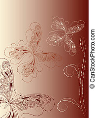 vector vintage background with butterflies and branch