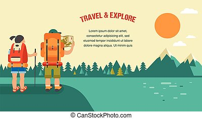 Vector vintage background with backpackers, forest, hills...