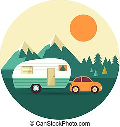 Vector vintage background with nature, forest, hills and camper car