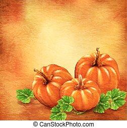 Vector Vintage background with three pumpkins