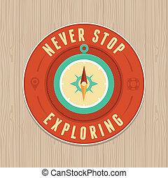 Vector vintage badge - flat icon. T - VEctor vintage badge...