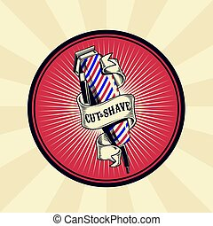 Vector vintage badge, sticker, sign for barber shop with hair clipper